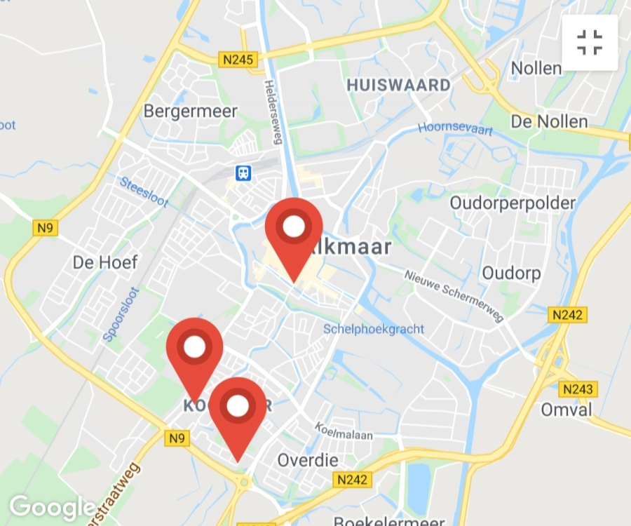 Kaart coronatest-alkmaar.com - Coronavirus test locaties Alkmaar